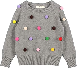 Infant Girls Knit Pullover Cotton Solid Color Cute Ball Design Long Sleeve Tops Gray