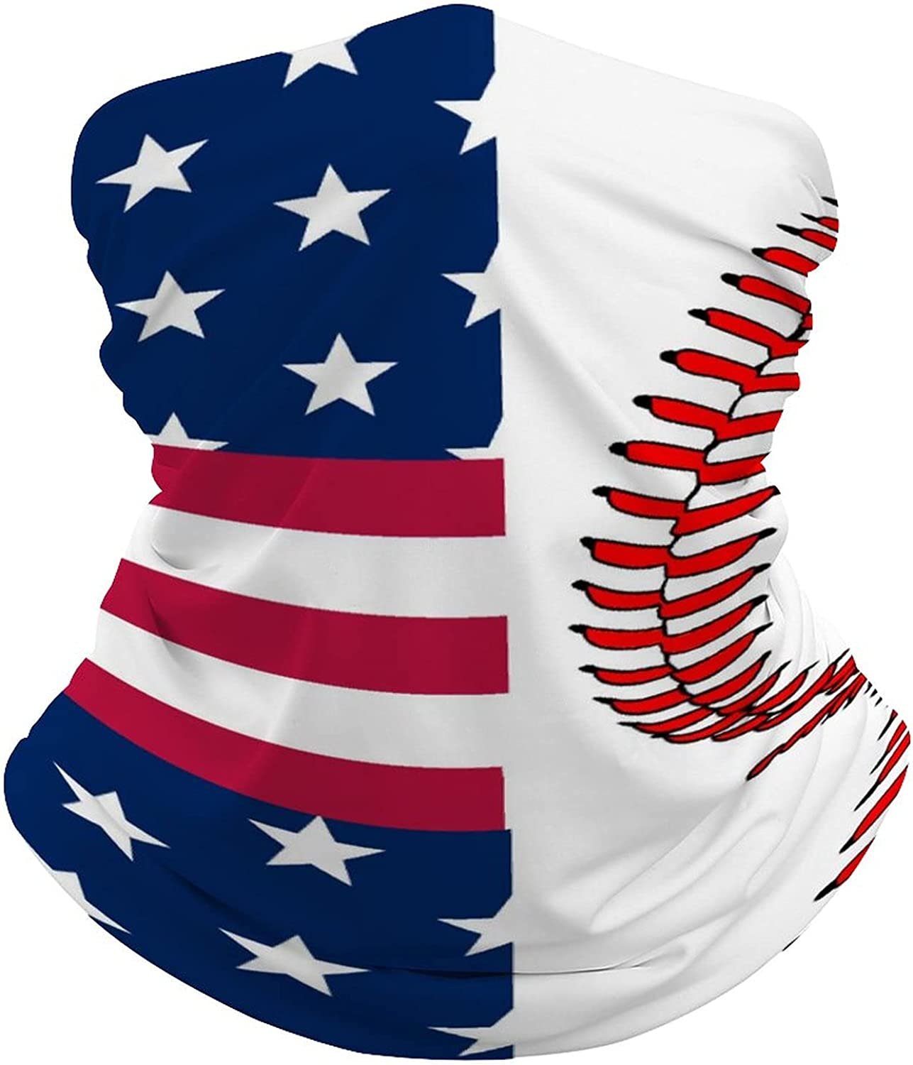 Multifunction Neck Gaiter face Mask for Cooling Summer,Baseball American Flag Unisex Breathable Bandana Seamless Balaclavas for Dust Outdoor Fishing and Sports Face Cover Scarf