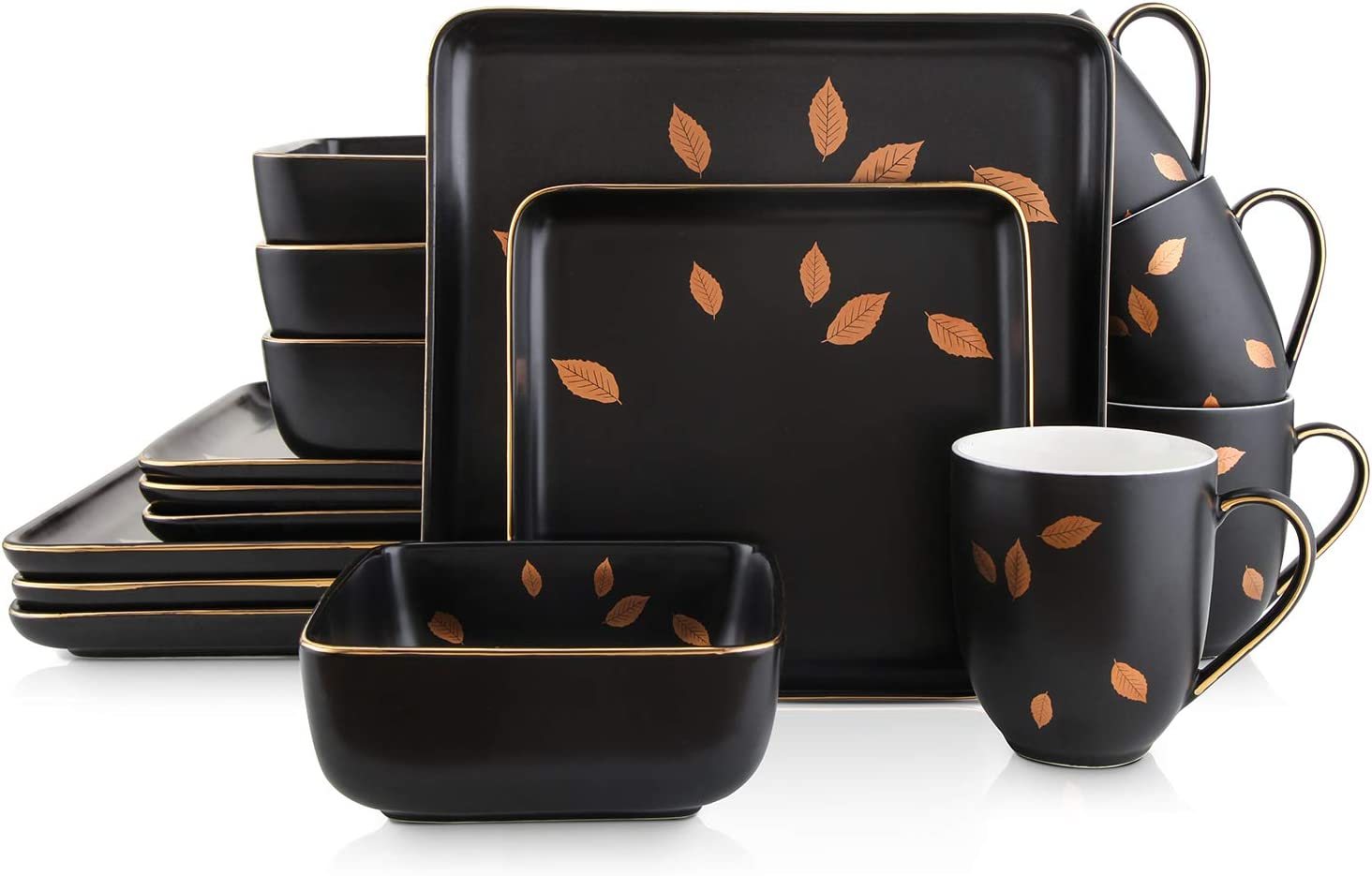 Stone Tucson Mall Lain Gold Leaves Square Set Service Dinnerware Animer and price revision Porcelain