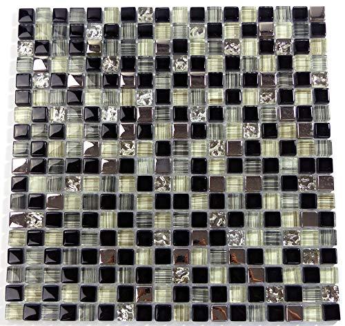 Piastrelle Mosaico tessere di mosaico in vetro a specchio in alluminio nero bagno cucina 8mm nuovo # S28