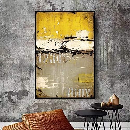 KWzEQ Moderne Ölgemälde-Plakate und Drucke auf Abstrakter Malerei der gelben Leinwand für Hauptdekoration,Rahmenlose Malerei,60x90cm