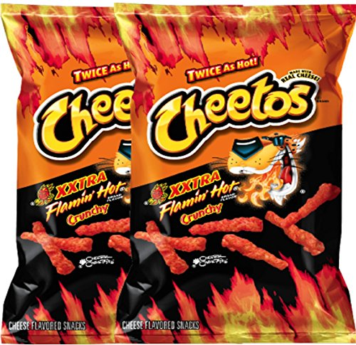 Cheetos Crunchy XXtra Flamin' Hot Net Wt. 3.5 Baggies Snack Care Package for College, Military, Sports (2)