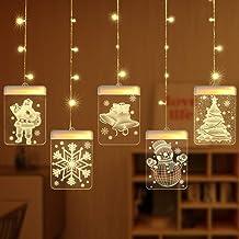 Cadena Cortina de Luces LED, Lypumso Tira Luminosa con 5 Placas con Patrones Navidad, Decoración Interior y Exterior, Alimentada por USB