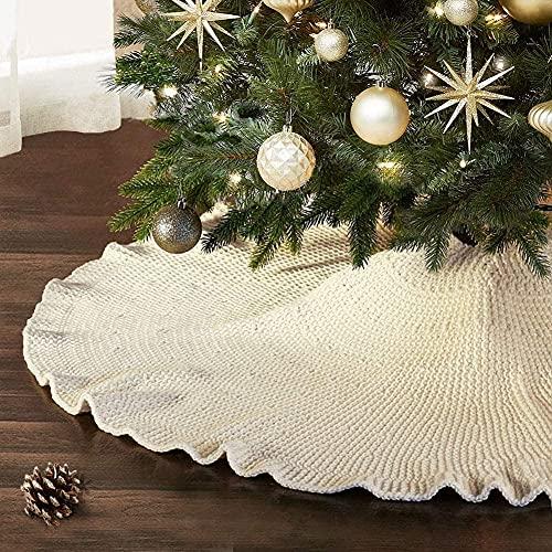 Didad Falda de áRbol de Navidad, Falda de áRbol con Volantes 48 Pulgadas Tejido de Punto RúStico DecoracióN NavideeA de Vacaciones Alfombra de Cuello de áRbol de Navidad Grande