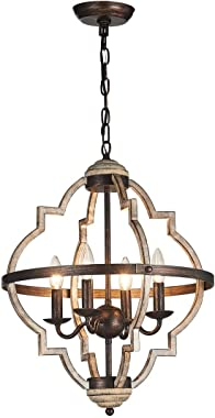 TZOE Orb 4-Light Metal Chandelier,Rustic Vintage Chandelier,Stardust Finish,Foyer Light,Adjustable Height,Dining Room Lightin