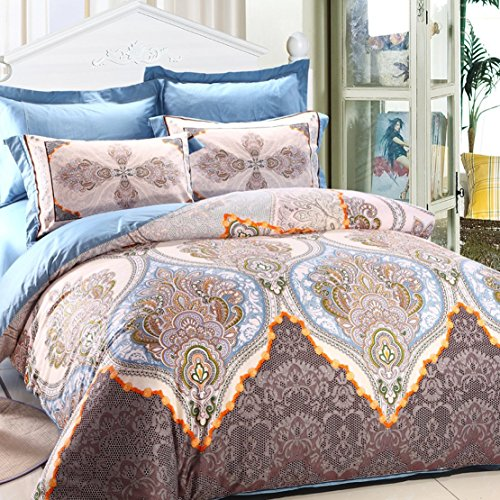 LELVA Boho Style Bedding Set,Boho Duvet Cover Set,Bohemian Bedding Set,Gray and Blue Big Floral Bedding Sets Full Queen Size (Full)