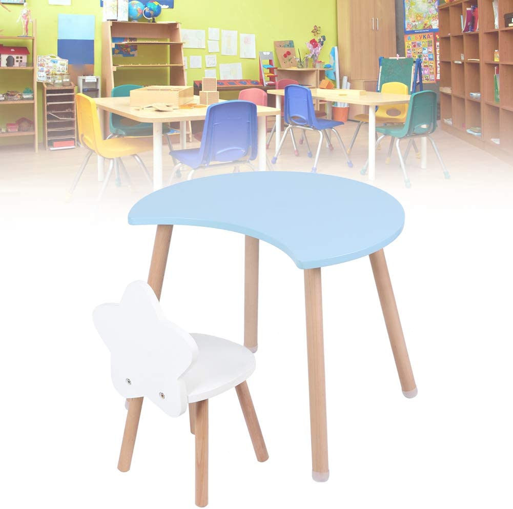 Blue Table with Chair Kids Childrens Desk Stool Set for Preschoolers Boys and Girls Activity Build /& Play Table Chair with Crescent Moon and Star Shape Max Load 100kg//220.5lbs