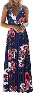 OUGES Womens Summer Deep V Neck Floral Adjustable Spaghetti Strap Beach Maxi Dress