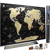 Mappa del Mondo da Grattare – Qualità Premium Deluxe Edition – Personalizzato Travel Tracker poster – Share e Ricorda il Tuo Viaggio Adventures – Scratchable Mappa del Mondo (Black)