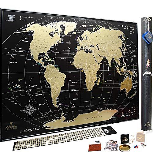 Mapa del Mundo Para Rascar - El Regalo Perfecto Para Viajeros - Edición deluxe 88 x 63 cm