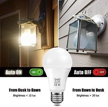 Sensor Lights Bulb Dusk to Dawn LED Light Bulbs Smart Lighting Lamp 7W E26/E27 Automatic On/Off, Indoor/Outdoor Yard ...