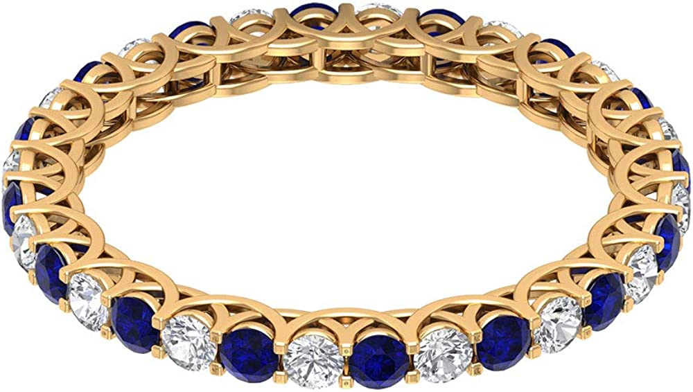 0.80 Ct Certified 2mm Sapphire Diffused Gold Ring, 1/2 Ct Diamond Eternity Ring, Gemstone Alternating Wedding Band Ring, Classic Anniversary Promise Ring, 14K Gold