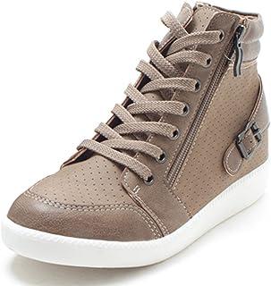 [EpicStep] 女性のガールズカジュアルコンフィーZipレースアッププラットフォームウェジスハイ塔?シューズファッションSneakers.