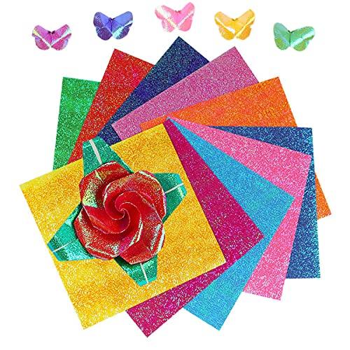 Smavles Papel de Origami 250 Hojas Purpurina Papel Papel de Color para Proyectos de Arte y Manualidades, Papel Brillante Origami,Papel Plegable con Purpurina, de Manualidades, para Niños