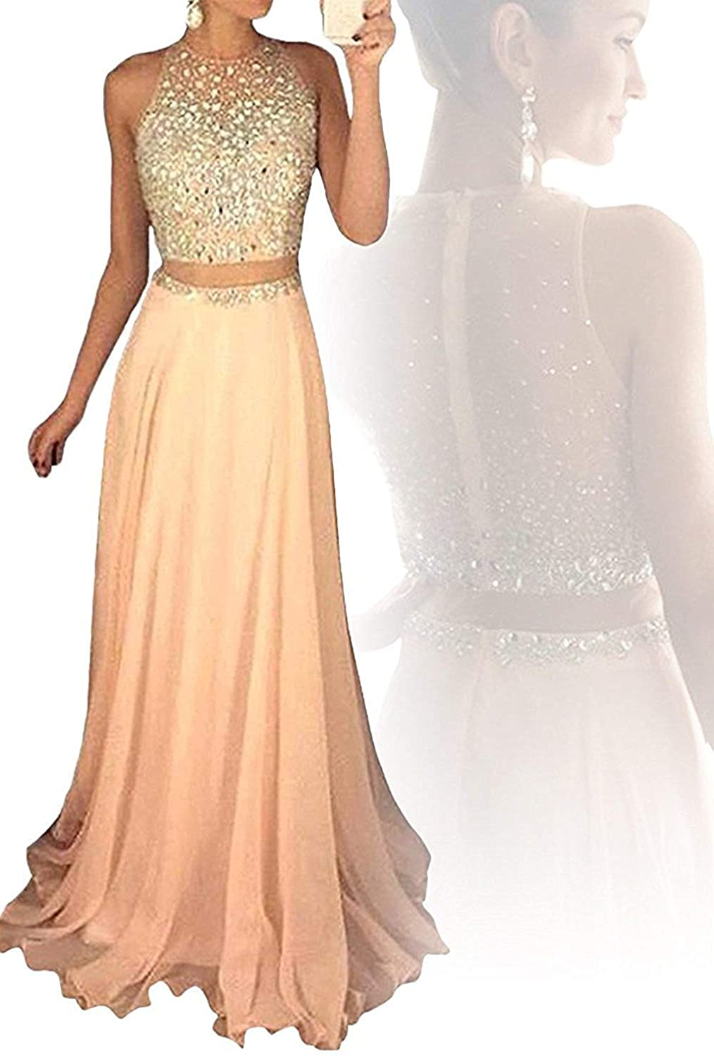 SDRESS Women's 2 Piece Crystal Sequins Prom Dress Two Piece Evening Party Gowns