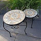 K&L Wall Art Mosaik - Juego de 2 mesas auxiliares para jardín (30 cm y 24 cm de diámetro) Mesa de mosaico de piedra hecha a mano