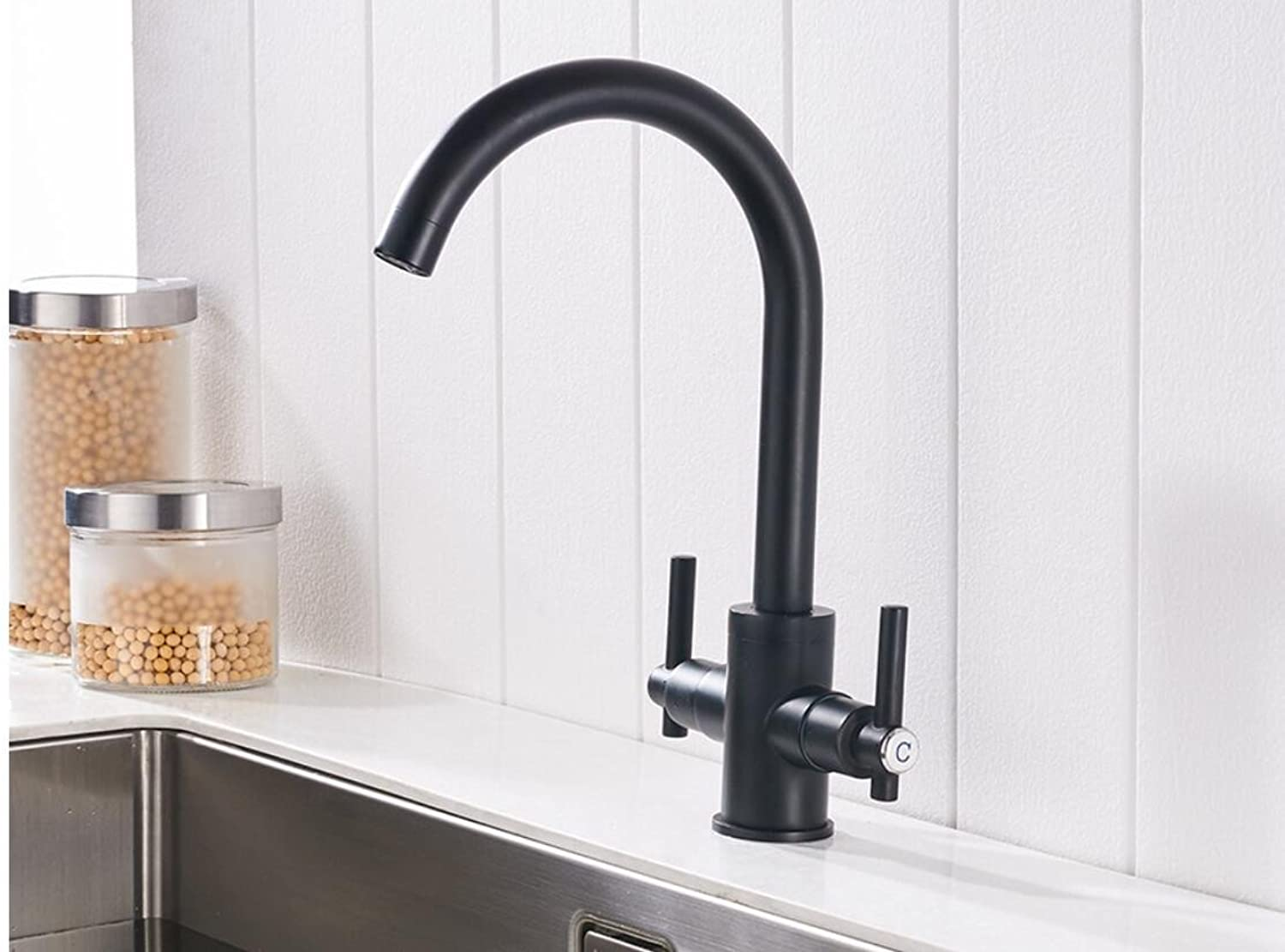 Mkkwp Two-Handle Faucet Black Kitchen Hot and Cold Sink Faucet Brass redatable Tap Kitchen Faucet