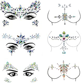 6 Sets Face Gems with Temporary Chest Rainbow Body Rhinestone Stickers for Party Shows Decorations Crystal Mermaid Tears Tattoo Eye Face Jewelry for Women,Girls