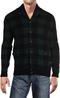 Mens Wool Checkered Cardigan Sweater