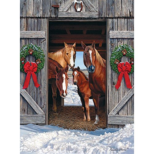 Bits and Pieces - 1000 Piece Jigsaw Puzzle for Adults - Horse Barn Christmas - 1000 pc Winter Holiday Scene Jigsaw by Artist Russell Cobane