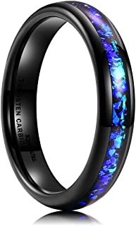 King Will Mens 4mm/6mm/8mm Black Tungsten Plating Wedding Ring Inlay Blue Purple Fragments Engagement Band