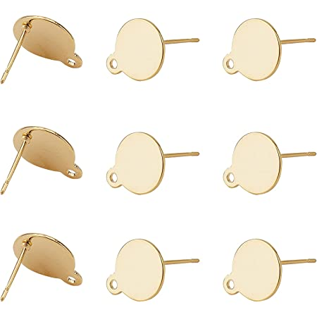 jewelry making craft supplies Polished Gold-Plated post earrings 2 Pieces MS0066-PG Square 10mm Post Earring