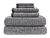Everplush Diamond Jacquard 6 Piece Bath Towel Set, Grey