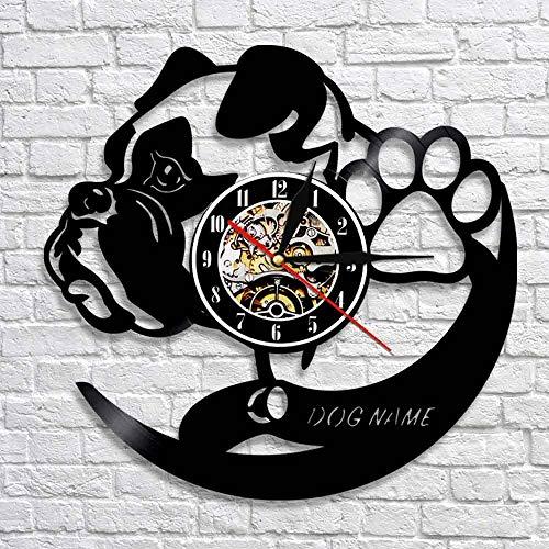 wtnhz LED-Reloj de Pared con Nombre de Perro Personalizado Pug Animal Pared Art Deco Perro Cachorro Vinilo Negro Reloj de Tiempo de grabación decoración de Interiores Mejor Regalo