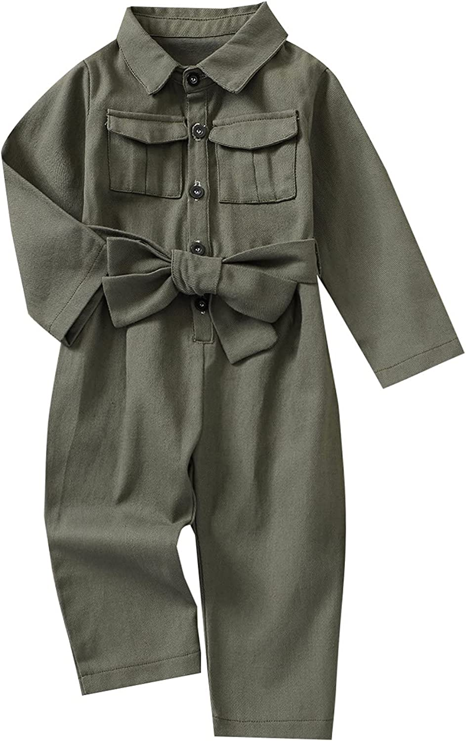 2Pcs Toddler Max 82% OFF At the price Girls Casual Clothes Solid Set Army Green Turn-Down