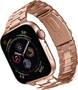 Compatible with Apple Watch Band 42mm 44mm, Solid Stainless Steel metal Wristband Replacement for iWatch Series SE/6/5/4/3/2/1 (Rose gold, 42mm/44mm)