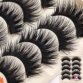 5 Pairs Makeup Long Cross False Eyelashes Nattural False Eye Lash Blue & Black
