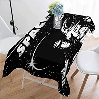 GloriaJohnson Astronaut Washable Long Tablecloth The Race to Space Retro Image with Space Crafts Planets Astronaut vs Cosmonauts Dinner Picnic Home Decor W54 x L108 Inch Black White