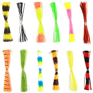Vbestlife Soft Silicone Jig Skirts 600 Strands Assorted Color Rubber Lure Skirts for DIY Spinnerbaits Buzzbaits Spoon Blade Squid Skirt Replacement, Color Random