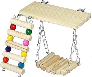 [elrin] ケージ はしご ブランコ ステージ ハムスター 鳥 カラフル 小動物 おもちゃ アクセサリー (カラフル 3点セット)