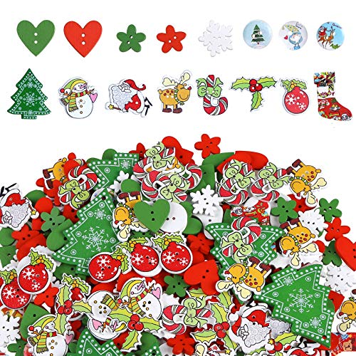 Greentime 300pcs Christmas Wooden Buttons Sewing Button for DIY Christmas Party
