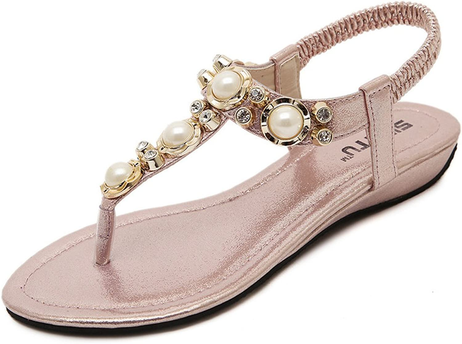 Fimuy Casual Jeweled Leather Flip Flops Womens Thong Sandals