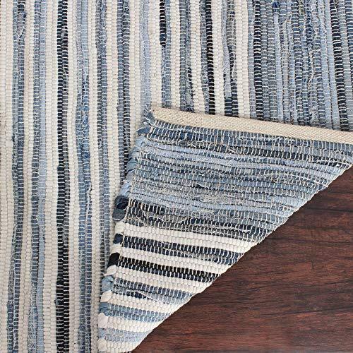 Alfombra 100% algodón de la zona Chindi grande para sala de estar y hotel, color azul de 183x122 cm, alfombra de trapo de mezclilla tejida a mano para decorar el hogar y el jardín