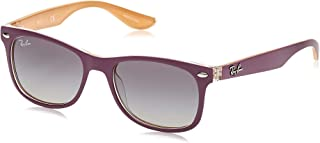 Ray-Ban Unisex-Child Plastic Unisex Sunglass 0RJ9052S Square Sunglasses, TOP MATTE VIOLET ON ORANGE, 48 mm