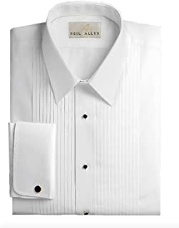 Neil Allyn Slim Fit Tuxedo Shirt - 100% Cotton Laydown Collar with French Cuffs