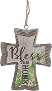 S&C Farmhouse Bless This Home Rustic Cross Ornament, Corrugated Galvanized Metal and Wood 5