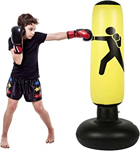 Fitness Punching Bag for Kids, Heavy Punching Bag Inflatable Punching Tower Bag Freestanding Children Fitness Play Adults De-Stress Boxing Target Bag Over 5ft