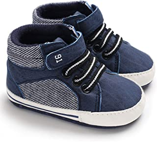 Infant Baby Boy Shoes Canvas High Top Toddler Sneakers Soft Sole Newborn Shoes for Baby Girls(0-18 Months)