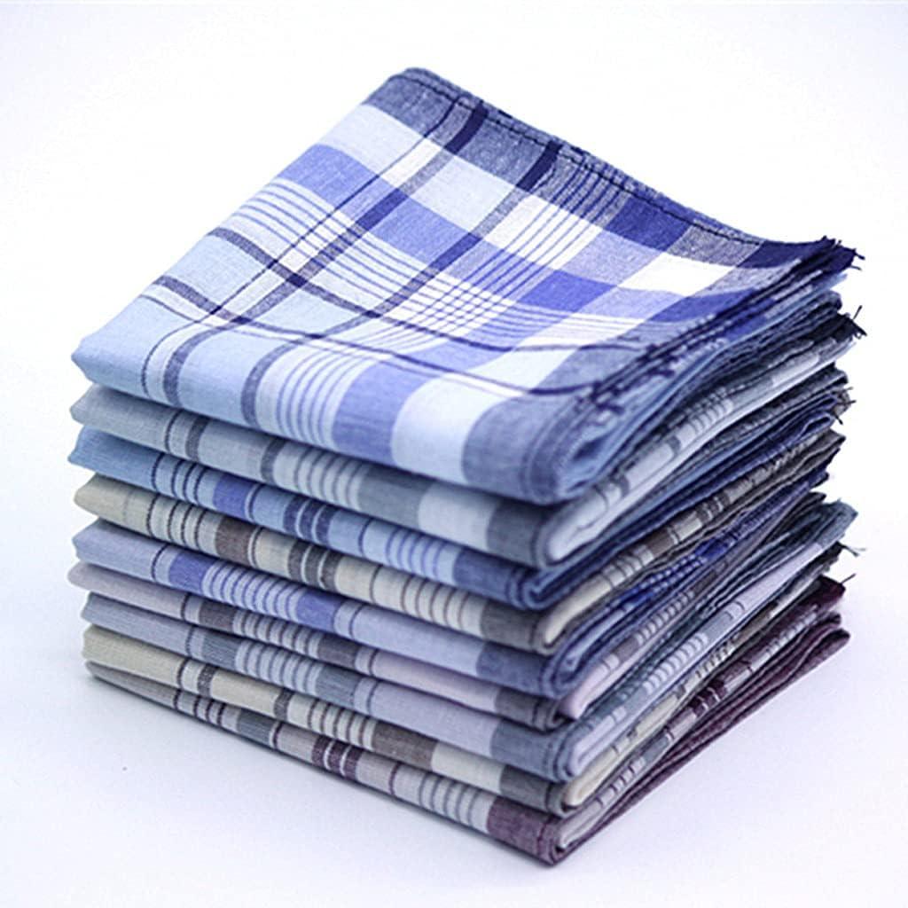 GYZCZX 12Pcs Classic Vintage Plaid Stripe Handkerchief Hanky Men Pocket Squares Cotton Business Casual Chest Towel Hankies Scarves