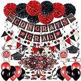 Zerodeco Festa di Laurea Decorazione, Nero e Rosso Congrats Grad bandierine Dangling Spiral...