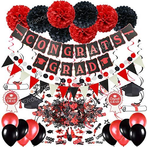 Zerodeco Festa di Laurea Decorazione, Nero e Rosso Congrats Grad bandierine Dangling Spiral Decorations Confetti di Laurea e Pompon Fiori Ghirlande Bandierine Triangolare Palloncini in Lattice