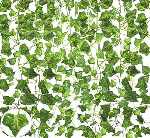 RFWIN 12 Pack Artificial Ivy Garland, 84 Ft Fake Vine Plant Hanging Leaf for Wedding Party Garden Decoration, Landscaping Fence Greenery