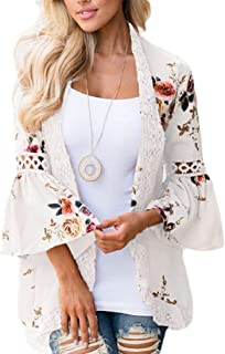 Women Kimono Cardigan Beach Cover Up Floral Chiffon Loose Blouse Top