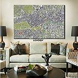 YuanMinglu Londres, Amsterdam Ciudad Moderna Mapa óseo Mural Mural decoración del hogar Lienzo Mural Pintura sin Marco 30x45 cm