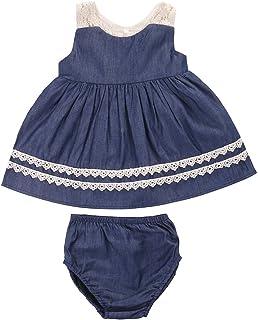 7f698debb3aaf Baby Girls Denim Ruffle Dresses Set Newborn Sleeveless Dress Top with Short Pants  Outfits