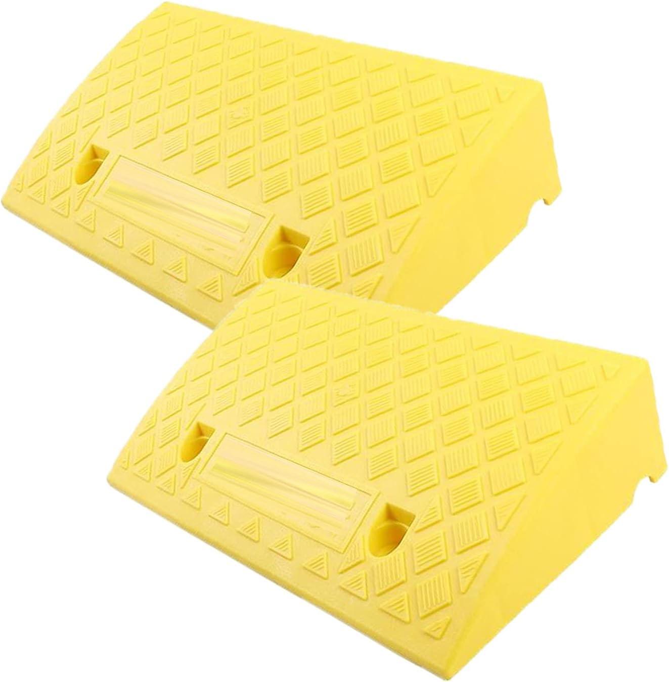 LIPINCMX 2PCS Rampas de acera Rampas de acera Rampas de umbral de plástico, Rampa de Puerta Ligera portátil Exterior para sillas de Ruedas
